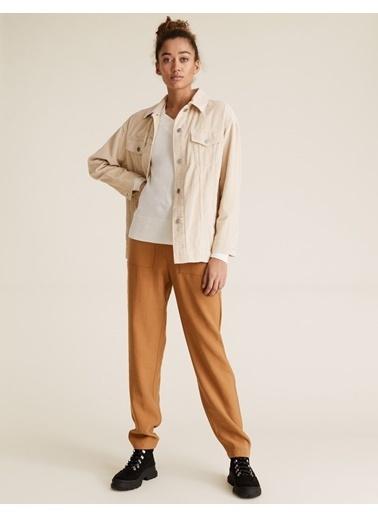 Marks & Spencer Tencel™ Tapered Ankle Grazer Pantolon Kahve